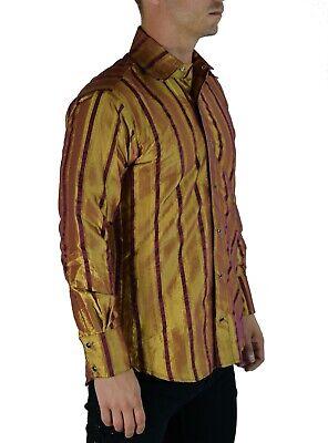 SHRINE CARNY GOTHIC VAMPIRE STEAMPUNK POET VICTORIAN GOLD RED TAFFETA SHIRT Casual Button-Down Shirts