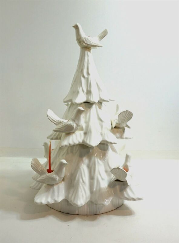 """HUGE 23"""" WHITE Vintage Ceramic Christmas Tree with figural Dove candle holders"""