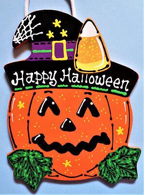 HAPPY HALLOWEEN Pumpkin Candy Corn SIGN Holiday Wall Art Door Hanger Plaque ](Happy Halloween Door Sign)