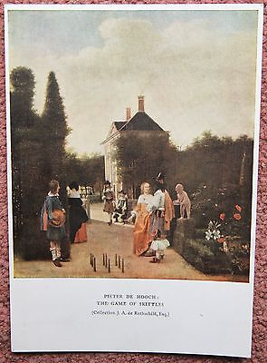 1600s Depiction of a Game of Skittles by Pieter de Hooch Medici Old Postcard