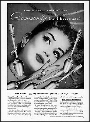 1952 Community Silverware woman's face Christmas wish vintage art print ad ads65