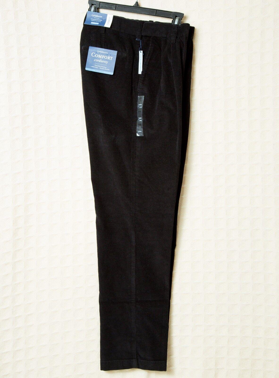 Men's Black Corduroy Pants Comfort Waist Pleated Croft & ...