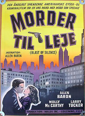 BLAST OF SILENCE Original 1962 Danish Poster * American FILM NOIR * Allen Baron
