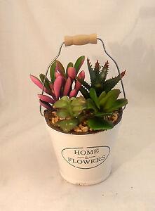 Flower Arrangement Artificial Fake Silk Flower Succulent w Ceramic Pot and Stone