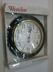 New Westclox Battery Quartz Wall Clock Black Gold White Round Plastic FREE S/H