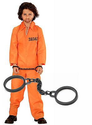 Boys Jail Boiler Suit Prison Convict Kids Halloween Fancy Dress Costume + Cuffs - Childs Boiler Suit