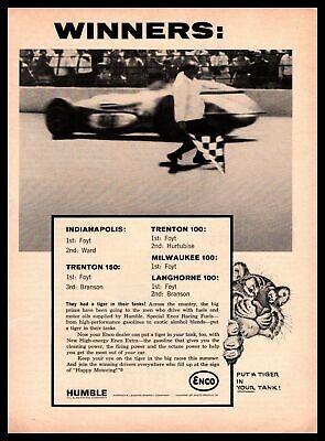 1964 Humble Oil Indy Trenton Milwaukee Langhorne Winners Enco Race Fuel Print Ad
