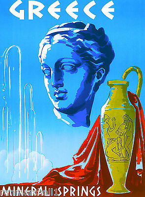 Greece Greek Mineral Spring Europe European Vintage Travel Advertisement Poster