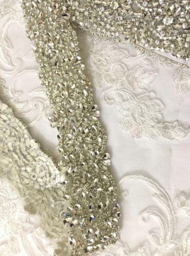 1 Yard Wedding Dresses Belts Crystal Rhinestone Pearl Bridal Sash Silver