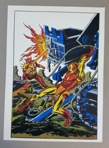 VINTAGE MARVEL COMICS: IRON MAN VS. SUNFIRE, PIN-UP POSTER, KANE, COCKRUM, 1978