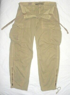 Mens  L 36 Abercrombie & Fitch Drawstring Stone Washed Cotton Khaki Cargo Pants
