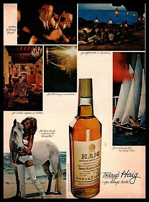 1966 Haig Scotch Girl In Bikini Horse Riding In The Hamptons Vintage Print Ad