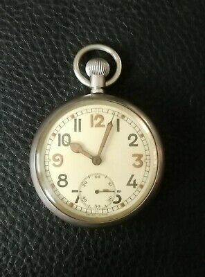 BRITISH WW11 MILITARY SPEC. POCKET WATCH LOVELY DIAL GOOD WORKING ORDER