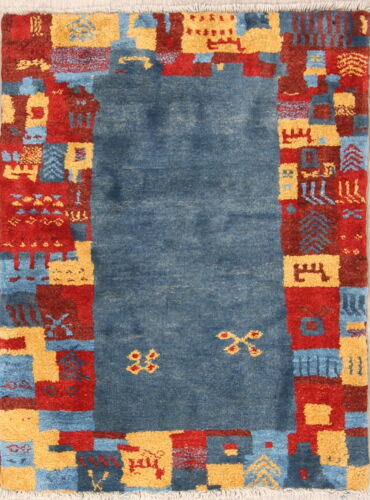 Tribal Gabbe Oriental Area Rug Wool Hand-Knotted Blue Geomet