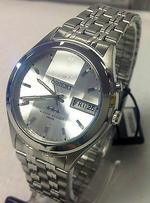 Reloj Orient Men's Faceted Cut Crystal White Dial Automatic Silver Watch