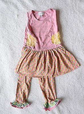 Summer Legging Outfits (Nina & Nelli Girls Summer Pink Outfit Dress Ruffle Capris Leggings Size 6)