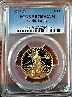 1988-P GOLD Eagle $25 1/2oz. Fine Gold PCGS PR70DCAM * PCGS BOOK VALUE $1350 American Eagle Gold Coin Value