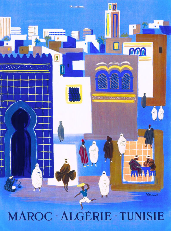 Morocco  Maroc Algerie Tunisie North Africa Vintage Travel Advertisement Poster