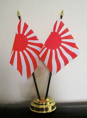 JAPANESE IMPERIAL SUN RISING X2 TABLE FLAG SET 2 flags plus GOLDEN BASE