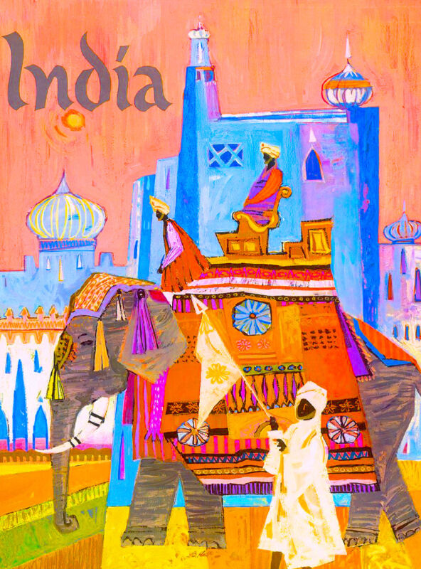 India Elephant Indian Southeast Asia Asian Vintage Travel Poster Advertisement