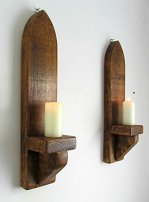 PAIR OF 53CM RUSTIC SOLID WOOD ANTIQUE WAX GOTHIC ARCH WALL SCONCE CANDLE HOLDER