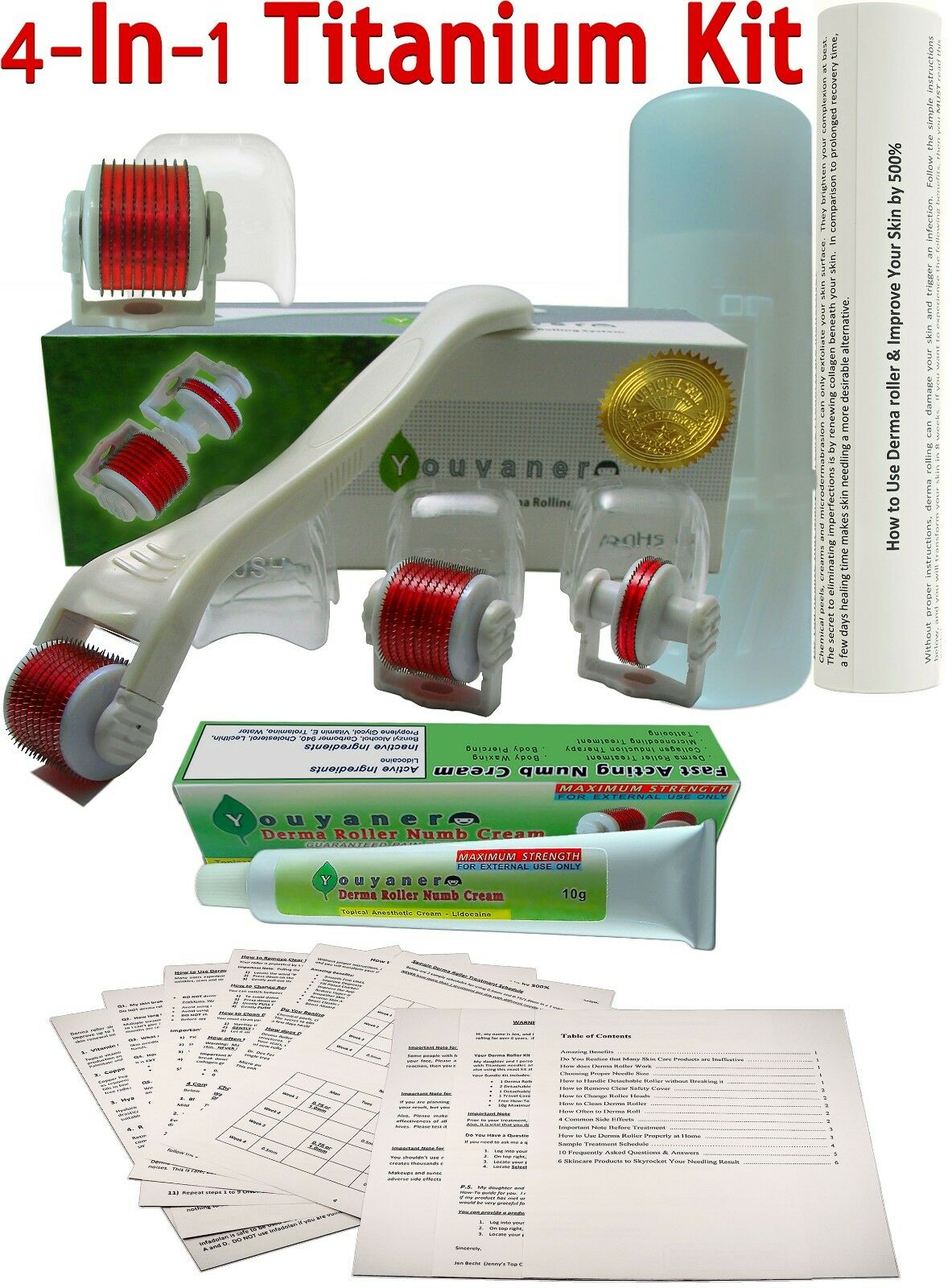 NEW Youyaner 4 in 1 Microneedle Derma Roller Kit + Numb Crea