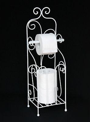 Freistehende Wc-rollenhalter (Toilettenpapierhalter Antik Weiß Metall HX13608 WC Rollenhalter Freistehend)