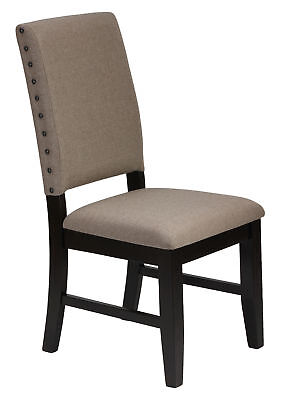 Cortesi Home Set of 2 Manchester Dining Chairs in Taupe Fabric with Black Legs a
