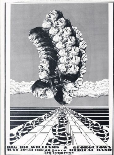 MINT Big Joe Williams 1969 ORIGINAL Vulcan Gas Austin Handbill
