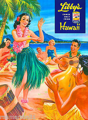 Oahu Diamond Head Hawaii Hawaiian Hula United States Travel Poster Advertisement