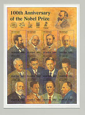 Uganda 1995 100th Anniversary Nobel Prize M/S of 12 Unissued Chromalin Essay