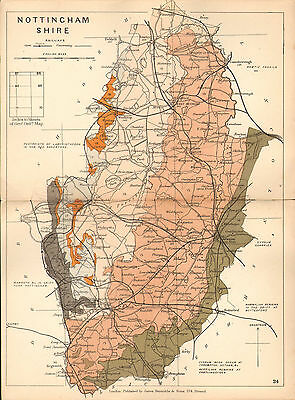 1889 HAND COLOURED GEOLOGICAL MAP ~ NOTTINGHAMSHIRE GEOLOGY SANDSTONE MAMMALIAN