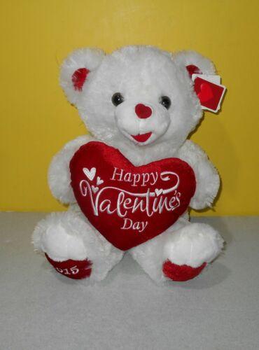 "18"" Sweetheart Valentines White Plush Teddy Bear Big Red Heart DanDee 2015"