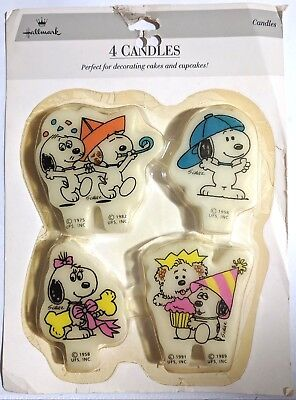 4 Vintage Snoopy Birthday Candles Peanuts Gang Hallmark Schulz Cartoon Sealed - Snoopy Birthday