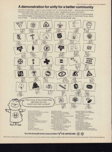 Vintage 1968 UNITED WAY Print Ad, Agency Symbols, D1