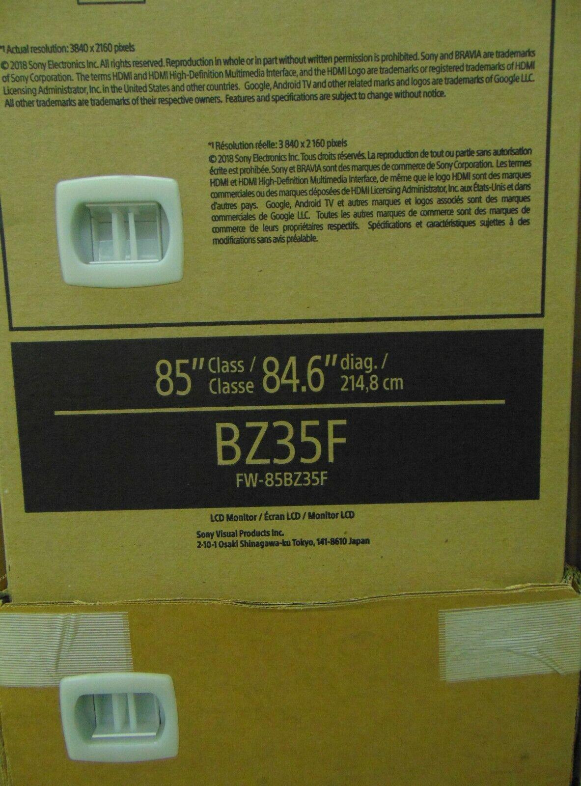 "Sony FW-85BZ35F 85"" Bravia LCD Professional Display 4K HDR10 4x HDMI FW85BZ35F"