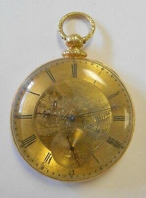 Antique 18K Yellow Gold MJ Tobias Liverpool Etched Man & Horse Pocket Watch -
