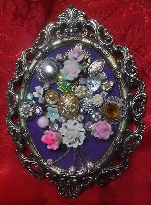Mini Vintage Jewelry Art Bouquet, Signed, Frame
