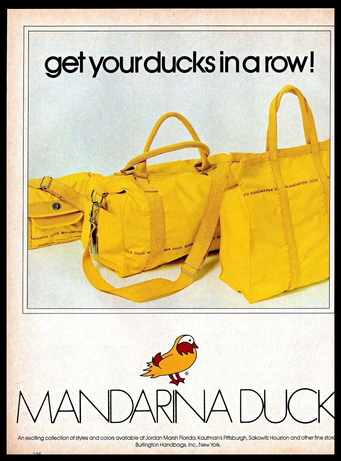 1982 Mandarina Duck Collection Burlington Handbags Yellow Bags Vintage 1980s Ad