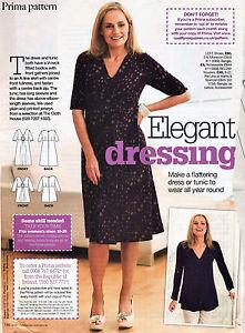 Elegant V-Neck DRESS or TUNIC TOP Easy Prima Sewing Pattern 10 12 14 16 18 20