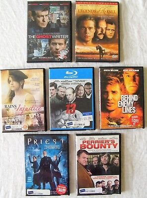Lot of 7 Movie DVD's Priest 13 Rains of Justice The Ghost Writer Etc.  (13 Ghost Movie)