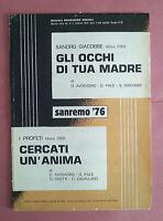 Spartito Gli Occhi Di Tua Madre - Sandro Giacobbe + Cercati Un'anima - I Profeti - sandro - ebay.it
