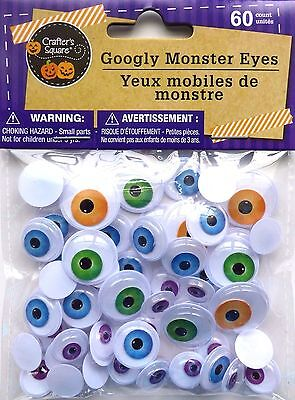 New Crafter's Square Halloween Googly Monster Eyes 60 count ~ Assorted Colors (Halloween Coloring Squared)