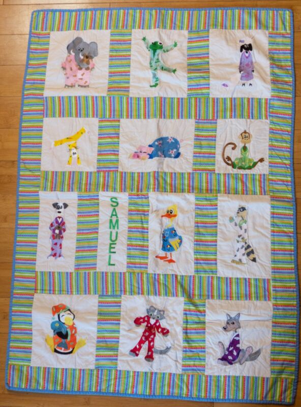 Handmade Personalized Embroidered Baby Boy/Toddler Quilt Animals in PJs Samuel