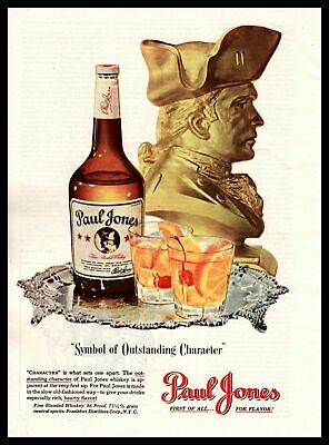 """1948 Paul Jones Whiskey Old Fashioned """"Symbol Of Outstanding Character"""" Print Ad"""