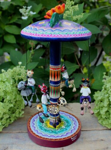 Carousel Merry-go-Round Day of the Dead Demons Devils Handmade Mexican Folk Art