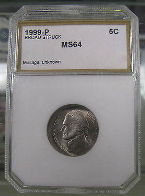 1999-P BROAD STRUCK JEFFERSON NICKEL ERROR COIN MINT STATE UNCIRCULATED