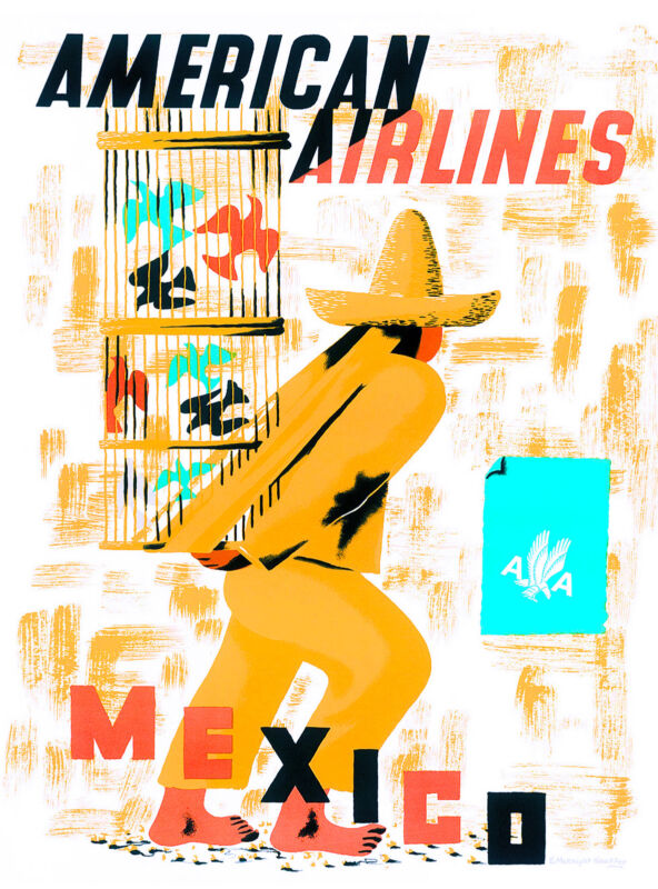 Mexico by Airplane Mexican Vintage Latin America Travel Advertisement Poster