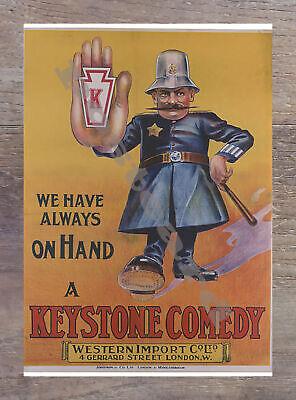 Historic A Keystone Comedy 1915 Movie Postcard