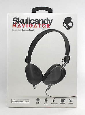 Skullcandy Navigator Black On-Ear Headphones with Mic & Headset S5AVDM161 New